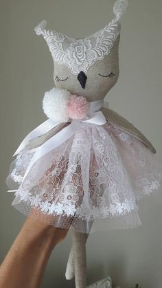 Handmade owl doll Heirloom doll fabric dollcloth dollFREE