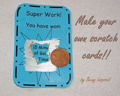 Make Your Own Scratch Cards to use as classroom rewards. :) Free printable reward cards and instructions on how to create scratchable paint. Free Classroom Rewards, Homework Incentives, Student Rewards, Classroom Behavior, Future Classroom, School Classroom, Classroom Activities, Classroom Ideas, Class Incentives