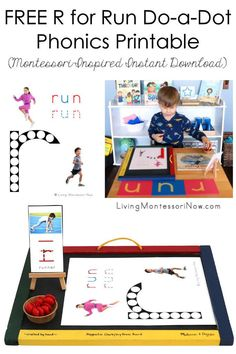 This free /r/ for run do-a-dot phonics printable is a Montessori-inspired printable for home or classroom. It's a versatile instant download for phonics and unit studies, especially activities relating to the Summer Olympics or summer sports in general - Living Montessori Now Phonics Activities, Preschool Themes, Hands On Activities, Writing Activities, Phonetic Sounds, Sand Writing, Do A Dot, Teaching Letters, Monthly Themes