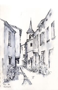 Rue Des Recureurs, pen and wash by artist Allan Kirk Pen And Wash, Ink Wash, A Level Art Sketchbook, Building Painting, Artist Pencils, Building Sketch, Pen And Watercolor, Star Art, Black And White Drawing