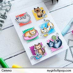 Featured Fawnatics and Challenge 22 Random Winner Paper Craft Making, Paper Crafting, How To Make Stencils, Rainbow Paper, Fabulous Birthday, Cat Cards, Animal Cards, Cute Images, Lawn Fawn