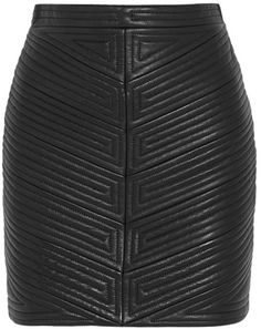 $3,670, Quilted Leather Mini Skirt by Balmain. Sold by NET-A-PORTER.COM. Click for more info: http://lookastic.com/women/shop_items/147775/redirect