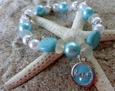 Seaglass Bracelet with Hope Charm by AngelinaWillowb on Etsy