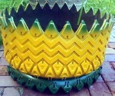 RUBBER POTTERY PLANTERS - Recycled Tire Planters. Find us on Facebook at Rubber Pottery. Original Design by Miranda Youmans Whitley Reuse Old Tires, Recycled Tires, Reuse Recycle, Recycled Crafts, Tire Planters, Flower Planters, Car Part Furniture, Modern Furniture, Furniture Design