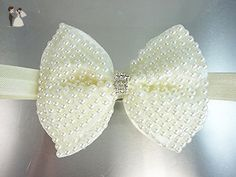 Baby, Toddler Headband, USA, Ivory Pearl Bow Hairband or Clip, Girl's 1st Birthday Headgear, Photo Prop, Baby Shower Gift. - Bridal hair accessories (*Amazon Partner-Link)