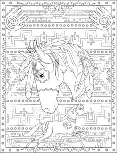 Bienvenue chez Dover Publications Creative Haven Native American Designs - Coloring for Everyone Horse Coloring Pages, Mandala Coloring Pages, Colouring Pages, Adult Coloring Pages, Coloring Books, Native American Horses, Native American Patterns, Native American Design, Native American Drawing