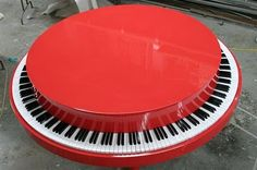 This round piano was designed around the Target logo and was played by Alicia Keys in the commercial. A section of the keyboard was rigged with keys that would depress to give the illusion of a working piano.