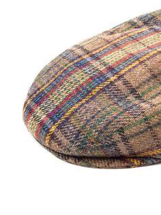 e4b8d022161 Beige wool flat cap with multicolour check pattern. - Grevi - WOOL FLAT CAP  Flat