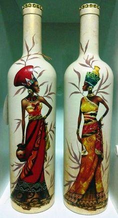 Botellas pintadas con negras africanas
