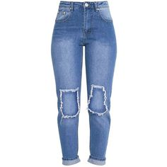 Kendall Light Wash Open Knee Rip Mom Jean (145 BRL) ❤ liked on Polyvore featuring jeans, pants, bottoms, light wash ripped jeans, light wash jeans, ripped jeans, destructed jeans and destroyed light wash jeans