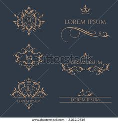 Floral monograms and borders, frames for cards, invitations, menus, labels. Graphic design pages, business sign, boutiques, cafes, hotels. Classic design elements for wedding invitations.  - stock vector