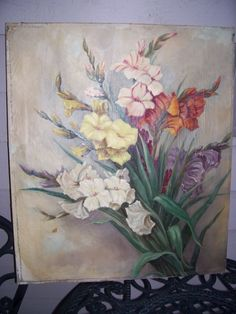 Antique Oil Painting BOTANICAL - FLOWERS signed Schrader  27.5 x 24 need TLC - Collector Item ! by LIZ404 on Etsy