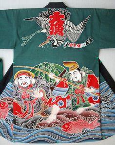 japan,fishing boat,flag,kimono,大漁旗,万祝旗