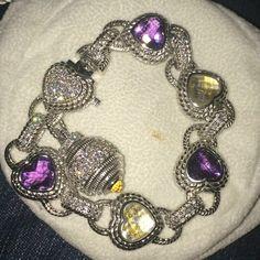 "Judith Ripka .925 Sterling Bracelet Judith Ripka Diamonique Pave and Multi Gem 7.5"" Sterling Bracelet. Never worn, comes in velvet pouch. Beautiful Judth Ripka Jewelry Bracelets"