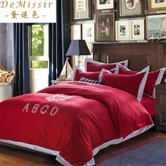 Find More Bedding Sets Information about 2016 Hot 60S Cotton Red Bedding Set King Queen size 4PCS Set Duvet Cover Sheet Bedspread 2 Pillow Case housse de couette cama,High Quality sheets of toilet paper,China sheets and pillow cases Suppliers, Cheap case diamond from Top Qulity Human Hair Factory on Aliexpress.com