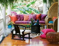 Gypsy Bohemian porch - digging the peacock chair Outdoor Rooms, Outdoor Living, Outdoor Furniture Sets, Outdoor Decor, Bohemian Furniture, Cane Furniture, Outdoor Patios, Wooden Furniture, Home Interior