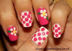 Ploka dotted white flower Nailart   Nail Art Designs, Ideas ...