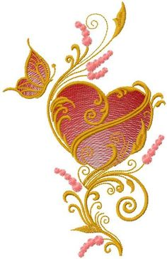 Heart and butterfly free machine embroidery design