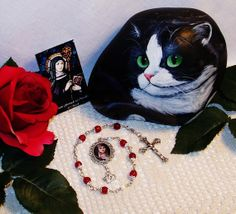 Your place to buy and sell all things handmade Silver Cat, Nickel Silver, Patron Saint Of Cats, Gift Of Faith, Tuxedo Cats, Sea Monsters, Prayer Cards, Patron Saints, Crucifix