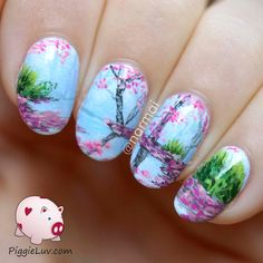 Freehand blossoms landscape nail art ~ with video tutorial ~ by piggieluv perfect nails, gorgeous Cute Nail Art, Cute Nails, Pretty Nails, Perfect Nails, Gorgeous Nails, Nail Polish Designs, Nail Art Designs, Spring Nails, Summer Nails