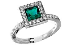 Elegant 5mmx5mm lab created emerald and round brilliant diamond ring with 0.50ct total weight diamonds