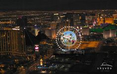 Views from a helicopter shows construction on the SkyVue observation wheel under construction in Las Vegas, Nevada Monday, May 21, 2012.