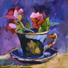 "I love her colors and her style. ""A Cup of Goodness"" - Original Fine Art for Sale - © Dreama Tolle Perry"
