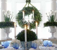 Chinoiserie Chic: A Blue and White Chinoiserie Christmas!A Blue And White Chinoiserie Christmas! Blue Christmas, Christmas Holidays, Christmas Wreaths, Christmas Decorations, Christmas Centerpieces, Christmas Greenery, Christmas Mantles, Christmas Villages, Christmas Kitchen
