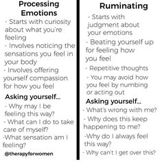 A chart to determine whether you are processing an emotion or ruminating. Mental Health Counseling, Mental And Emotional Health, Mental Health Awareness, Therapy Tools, Cbt Therapy, Emotional Intelligence, Intelligence Quotes, Coping Skills, Yoga