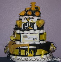 Construction Themed Baby Shower Ideas | Boy Baby Shower Gift Ideas/CAT Contruction Baby Centerpiece