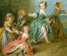 Detail from The Golden Age by   Jean-Baptiste Joseph Pater  (French, 1695–1736) Here elegantly dressed little girls play with stick horses and a pinwheel with their brothers. Note girls stockings - different colors (pink and green). leading strings on the shoulders of the gowns, how the clothes mimic adult gowns.
