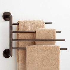 Colvin Quadruple Swing Arm Towel Bar With 4 swinging arms, this towel rack adds more storage to your bathroom without sacrificing much-p Towel Holder Bathroom, Bathroom Towels, Towel Holders, Bath Towel Racks, Bathroom Towel Storage, Bathroom Wall, Bathroom Organization, Kitchen Towel Rack, Guys Bathroom