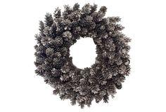 "22"" Silver Pinecone Wreath, Fresh"