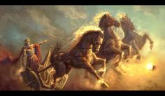 Apollo rides a chariot pulled by fiery horses across the sky every day to bring light to the world.