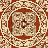 Floor tiles, Chalon-sur-Marne, France Tile Art, Mosaic Tiles, Amazing Maze, Labyrinth Maze, Art Tribal, Handmade Tiles, Ancient Symbols, Spirals, Cathedral