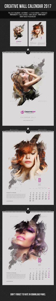 Creative Wall Calendar Design 2017 V06 - Calendars Template PSD. Download here: https://graphicriver.net/item/creative-wall-calendar-2017-v06/16947926?s_rank=139&ref=yinkira