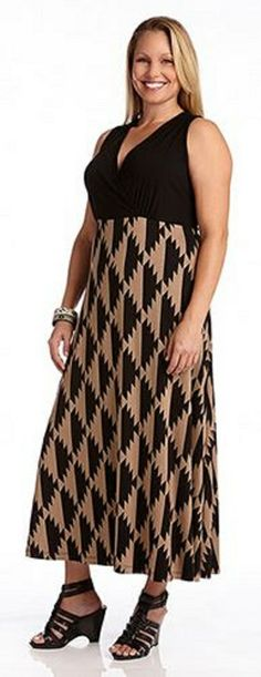 PLUS SIZE ISLAND PRINT MAXI TANK DRESS Whether you are home for the weekend or taking a tropical trip, this Karen Kane maxi dress will have you in a Mahalo mindset. Its sand sweeping sleeveless silhouette will sway with the island breeze and show off your sunkissed shoulders. Relax in its soft knit stretch material and flattering empire waist. Wear alone for day or dress up with a structured blazer for chilly evenings.  #Plus #Plus_Size #Fashion #Plus_Size_Fashion  #Maxi_Dress #Karen_Kane