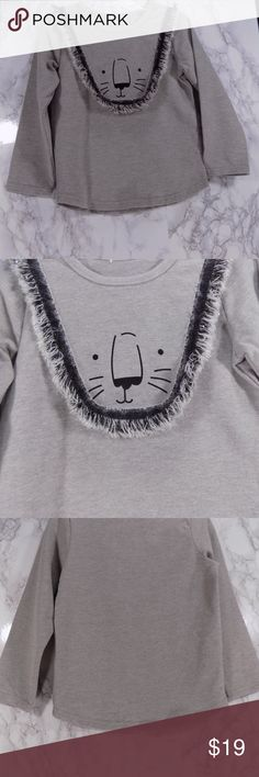 """Gray """"LIon"""" Long Sleeve Tee.  Kids.   :) Adorable gray tee, long sleeves, crew neck with a very cute LION design.  This item is brand new and never used.  344 Shirts & Tops Tees - Long Sleeve"""