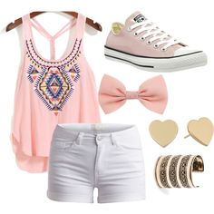 First day of summer by ayely-webb on Polyvore featuring polyvore, fashion, style, Pieces, Converse, Kate Spade and MANGO