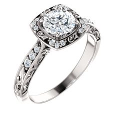 Beautiful  Sculptural-Inspired, Round Diamond, Stuller Engagement Ring. Available at Westmount Jewellers. Edmonton, Alberta. Available at Westmount Jewellers. Edmonton, Alberta. Contact: pinterest@westmountjewellers.com
