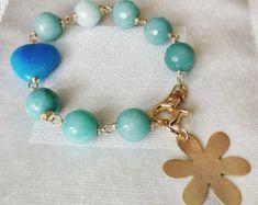 Colorful boho bracelet Pulsera de piedras naturales por Sifrimania