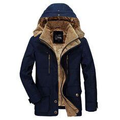 551b228e47c AFSJEEP Mens Thick Fleece Winter Coat Hooded Outdoor Solid Color Jacket -  Banggood Mobile Mens Winter