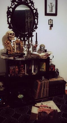 book, skull, and goth decor image