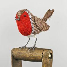 Tweed Fabric Bird Sculpture, handmade figurine ROBIN - Made to Order