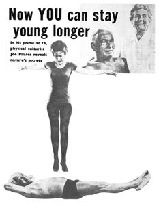 Notice that this woman is jumping on Joe Pilates' stomach. Who needs abs of steel when you can have abs-of-trampoline?