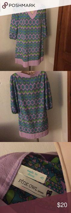 Pink owl cute dress Like new very nice dress with 3/4 sleeves Pink Owl Dresses Mini