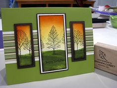 beautiful handmade card from Krafting Kreations: Lovely Limeade Birthday ... three panels with trees image from Lovely as a Tree ... gorgeous sponged sky behind the silhouetted trees ... Stampin' Up!