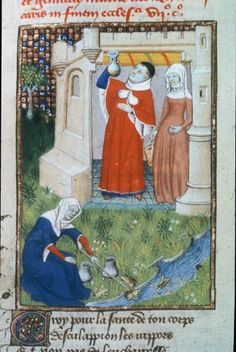 Description: Detail of a miniature of the physician Aesculapius making a diagnosis, while Circe spears frogs in a stream below, in 'L'Épître Othéa'. Origin: France, Central (Paris) Attribution: Attributed to the Master of the Cité des Dames and workshop. Medieval Life, Medieval Art, Medieval Manuscript, Illuminated Manuscript, 14th Century Clothing, Roman, Library Catalog, Medieval Clothing, Period Costumes
