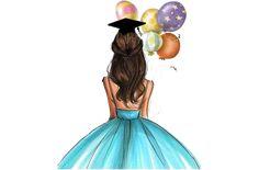 Graduation Images, Graduation Diy, Girly Drawings, Art Drawings For Kids, Eid Crafts, Laser Art, Illustration Mode, Fashion Wall Art, Digital Art Girl
