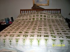 This quilt was embroidered by a dear friend of mine, Vicki. I've had it for a long time because it scared me to quilt it. But, I finally h. Sampler Quilts, Star Quilts, Quilt Blocks, Dear Jane Quilt, Baby Jane, Green Quilt, Quilting Tips, Dear Friend, 2 Colours